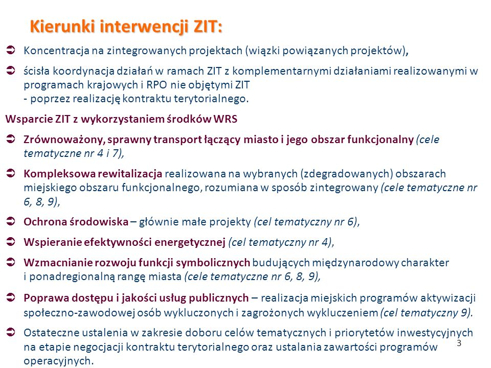 Kierunki interwencji ZIT: