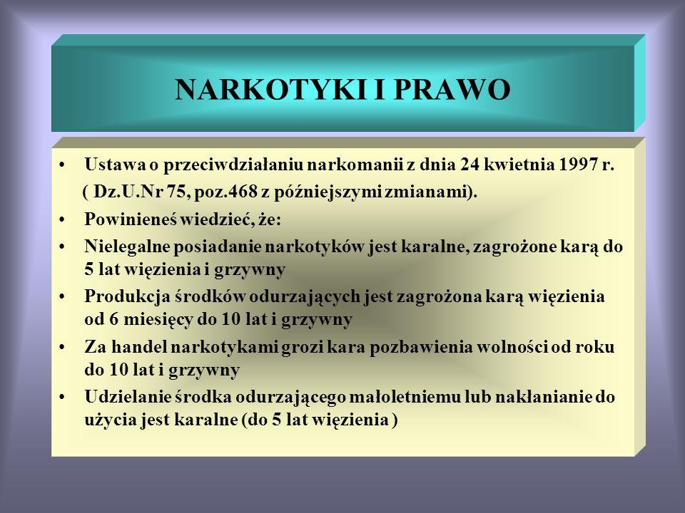 NARKOTYKI I PRAWO Ustawa o przeciwdziałaniu narkomanii z dnia 24 kwietnia 1997 r. ( Dz.U.Nr 75, poz.468 z późniejszymi zmianami).