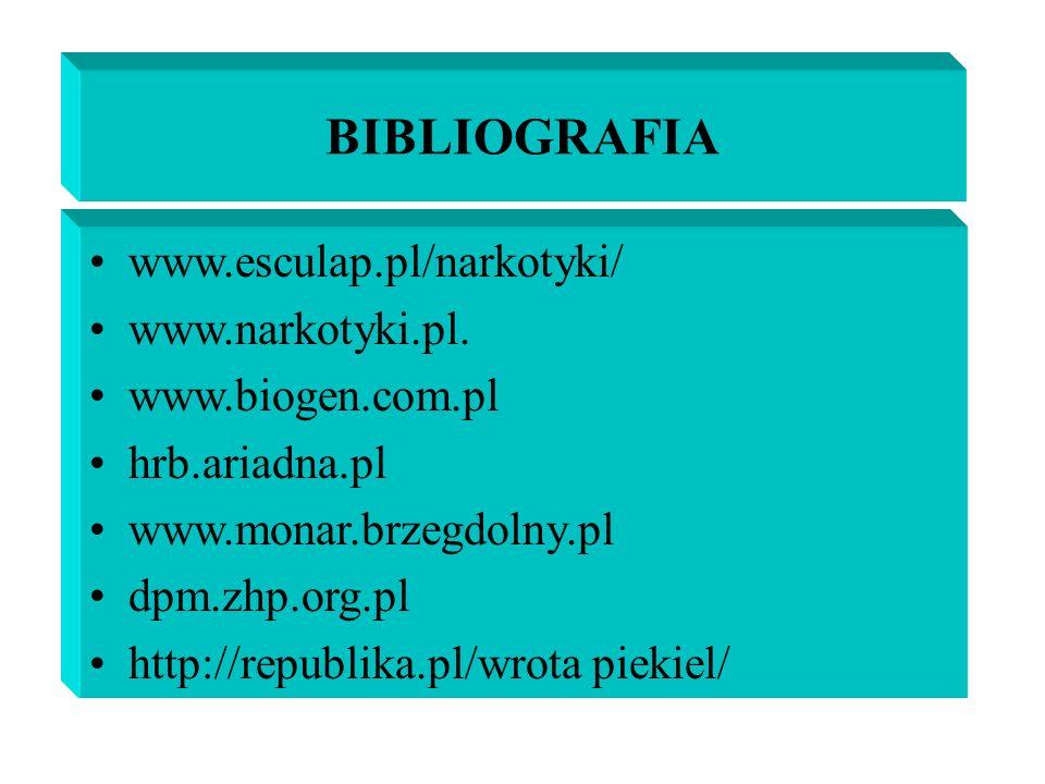 BIBLIOGRAFIA www.esculap.pl/narkotyki/ www.narkotyki.pl.