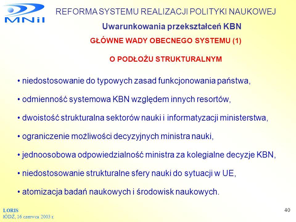 GŁÓWNE WADY OBECNEGO SYSTEMU (1) O PODŁOŻU STRUKTURALNYM