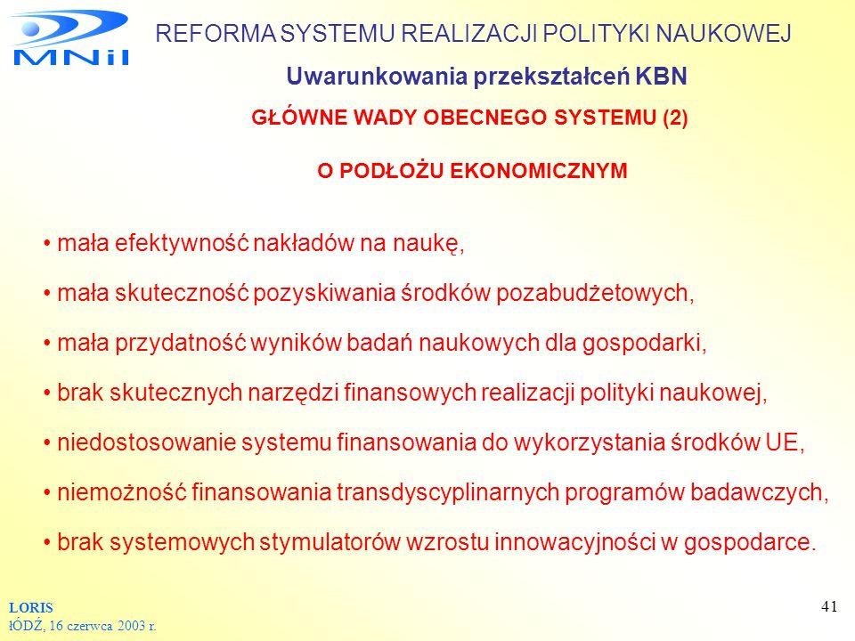 GŁÓWNE WADY OBECNEGO SYSTEMU (2) O PODŁOŻU EKONOMICZNYM