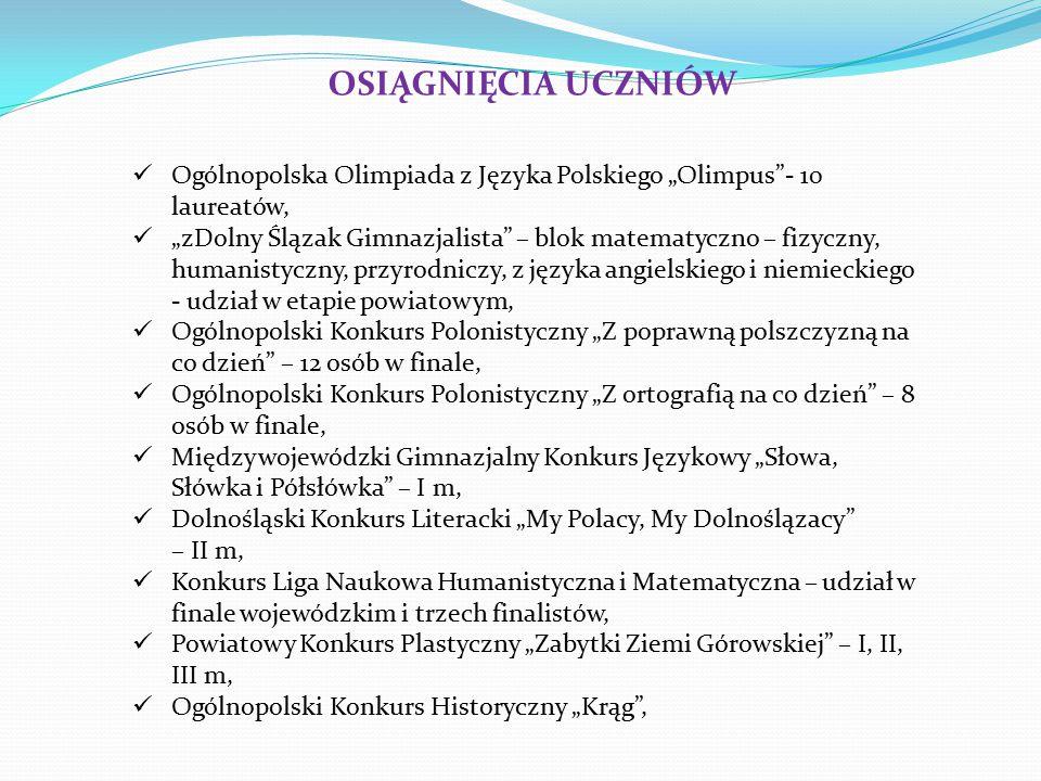 """OSIĄGNIĘCIA UCZNIÓW Ogólnopolska Olimpiada z Języka Polskiego """"Olimpus - 10 laureatów,"""
