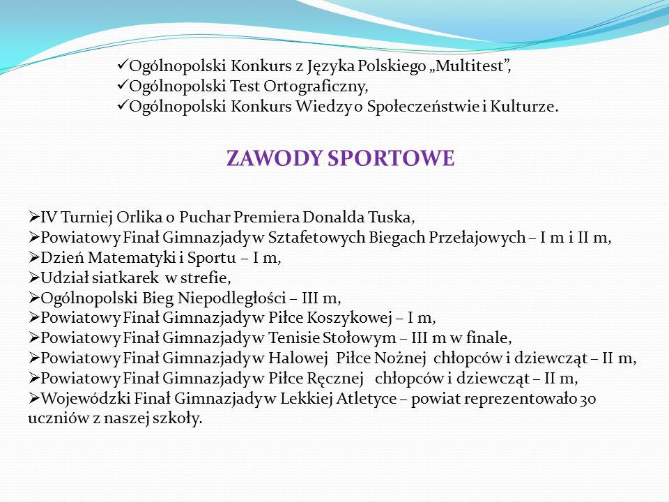 """ZAWODY SPORTOWE Ogólnopolski Konkurs z Języka Polskiego """"Multitest ,"""