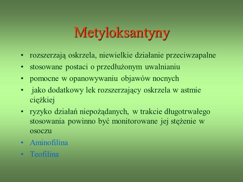 Metyloksantyny rozszerzają oskrzela, niewielkie działanie przeciwzapalne. stosowane postaci o przedłużonym uwalnianiu.
