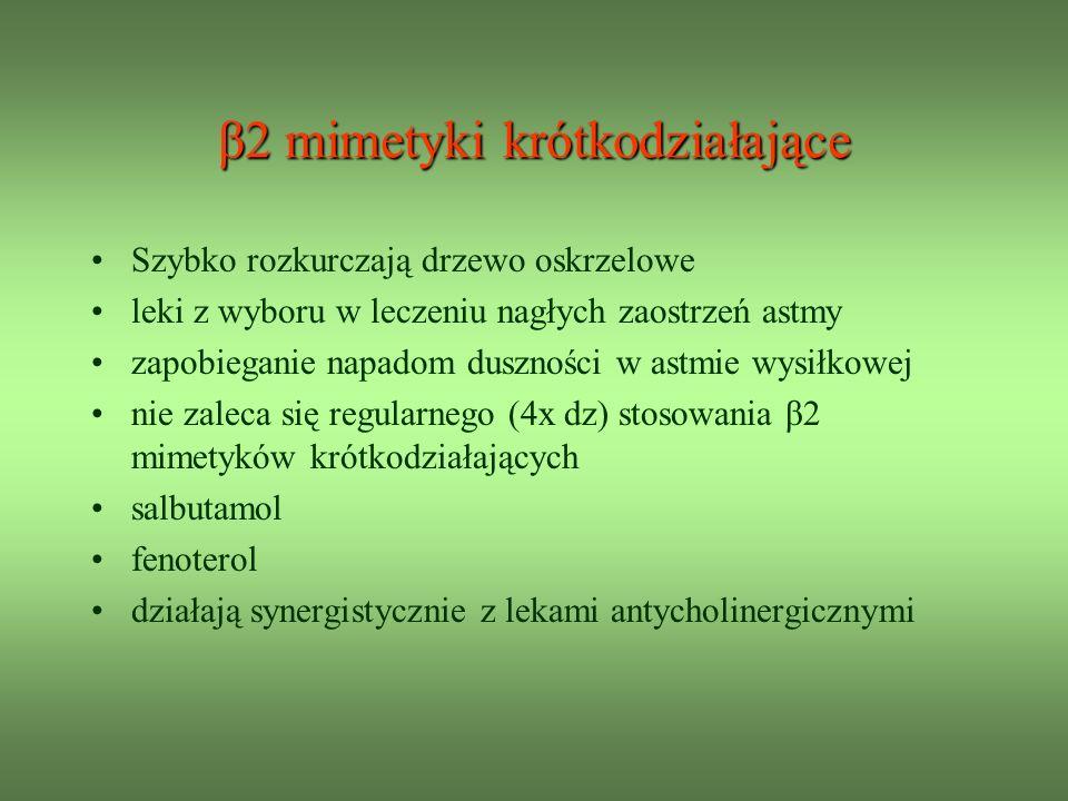 β2 mimetyki krótkodziałające