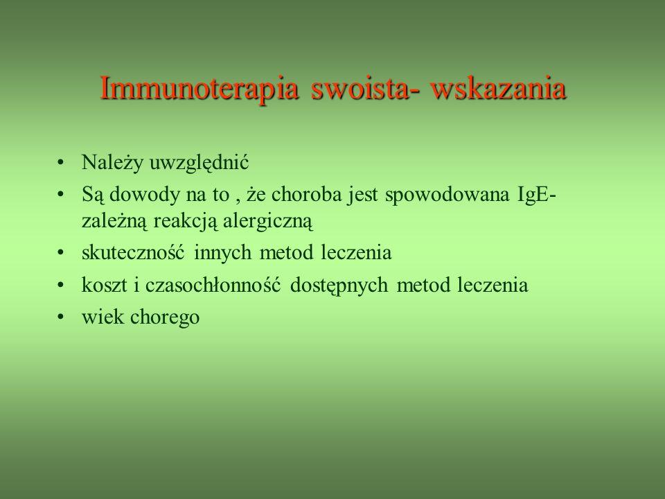 Immunoterapia swoista- wskazania