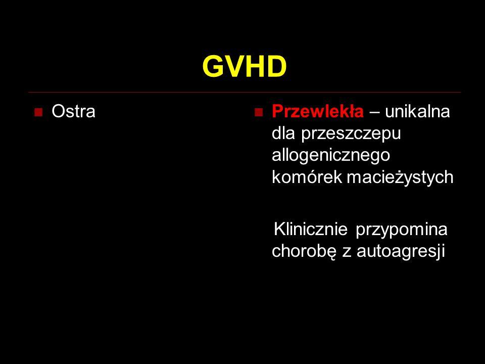GVHD Ostra. Przewlekła – unikalna dla przeszczepu allogenicznego komórek macieżystych.