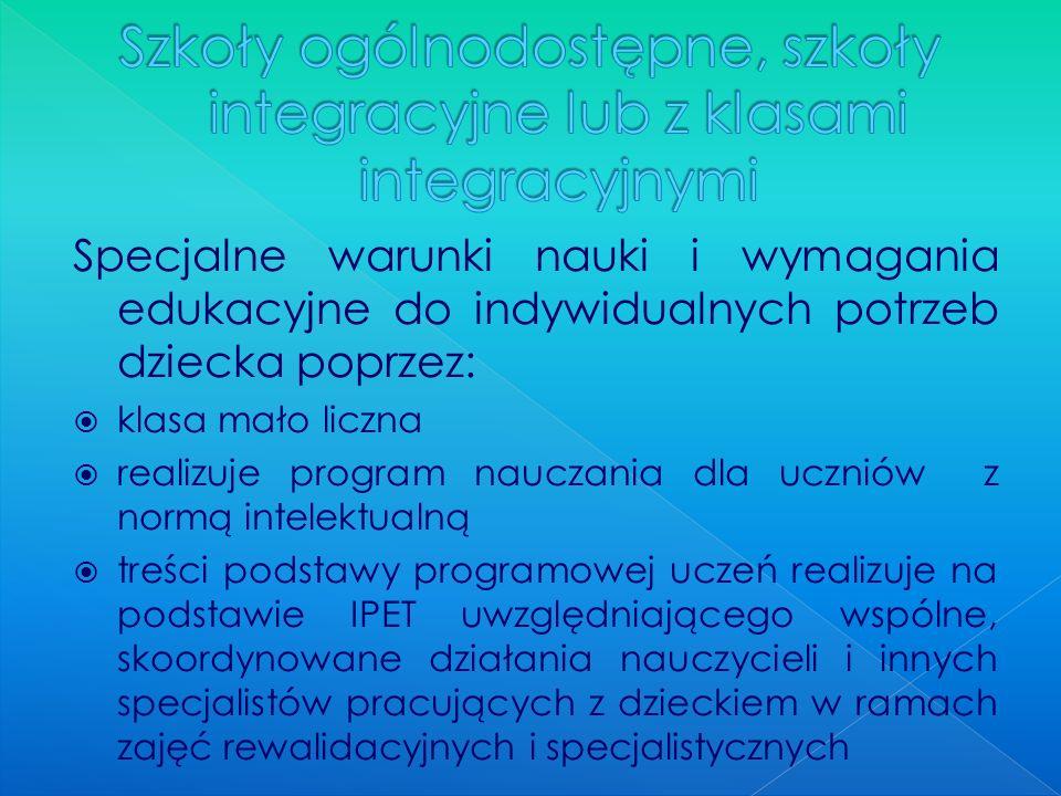 Szkoły ogólnodostępne, szkoły integracyjne lub z klasami integracyjnymi