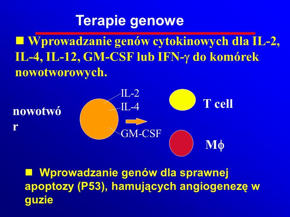 Terapie genowe Wprowadzanie genów cytokinowych dla IL-2, IL-4, IL-12, GM-CSF lub IFN-g do komórek nowotworowych.