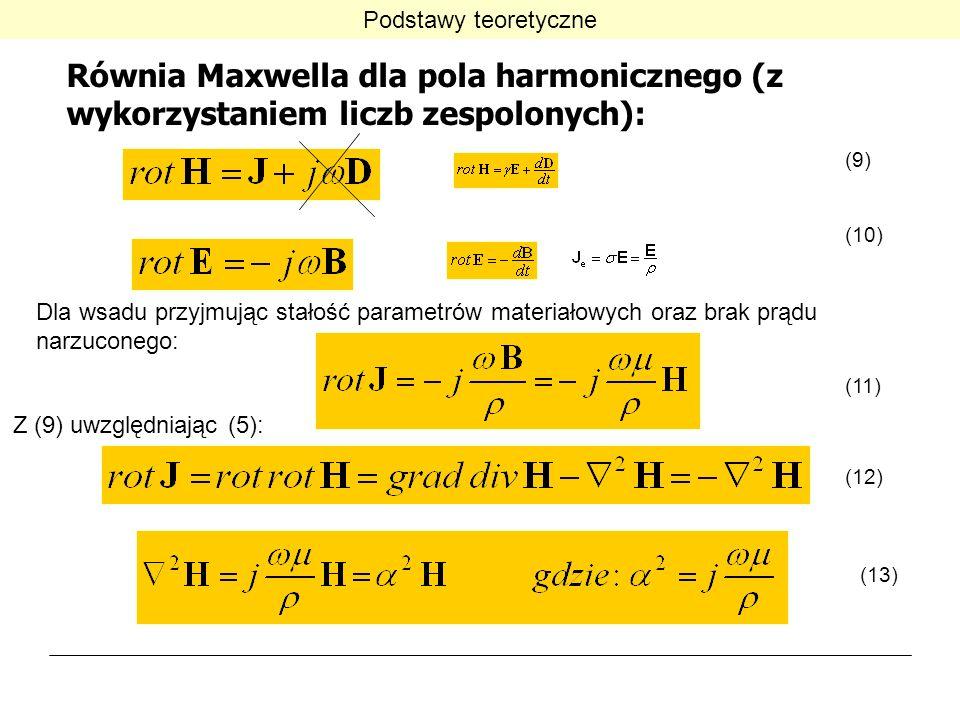 Podstawy teoretyczne Równia Maxwella dla pola harmonicznego (z wykorzystaniem liczb zespolonych): (9)