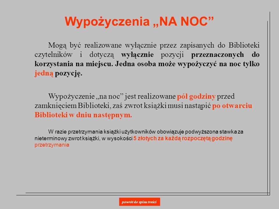 """Wypożyczenia """"NA NOC"""