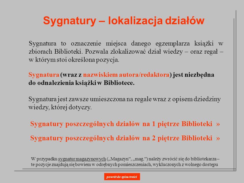 Sygnatury – lokalizacja działów