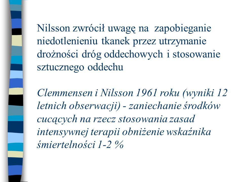 Nilsson zwrócił uwagę na zapobieganie niedotlenieniu tkanek przez utrzymanie drożności dróg oddechowych i stosowanie sztucznego oddechu Clemmensen i Nilsson 1961 roku (wyniki 12 letnich obserwacji) - zaniechanie środków cucących na rzecz stosowania zasad intensywnej terapii obniżenie wskaźnika śmiertelności 1-2 %