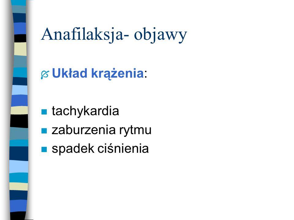 Anafilaksja- objawy Układ krążenia: tachykardia zaburzenia rytmu