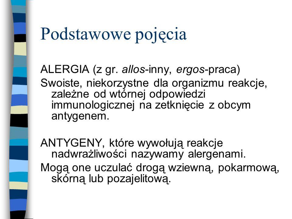 Podstawowe pojęcia ALERGIA (z gr. allos-inny, ergos-praca)
