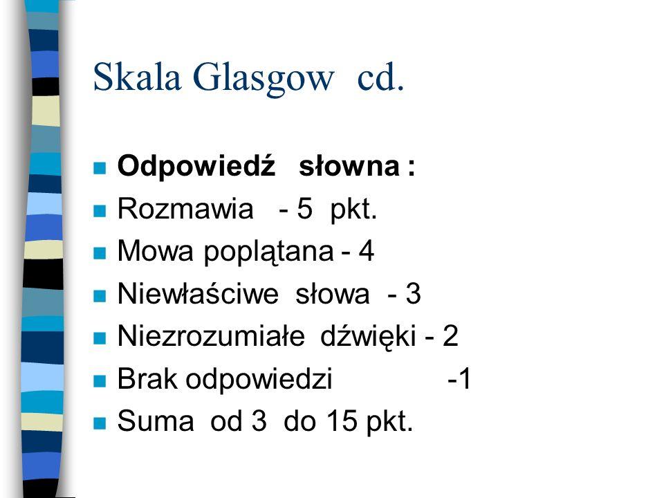 Skala Glasgow cd. Odpowiedź słowna : Rozmawia - 5 pkt.