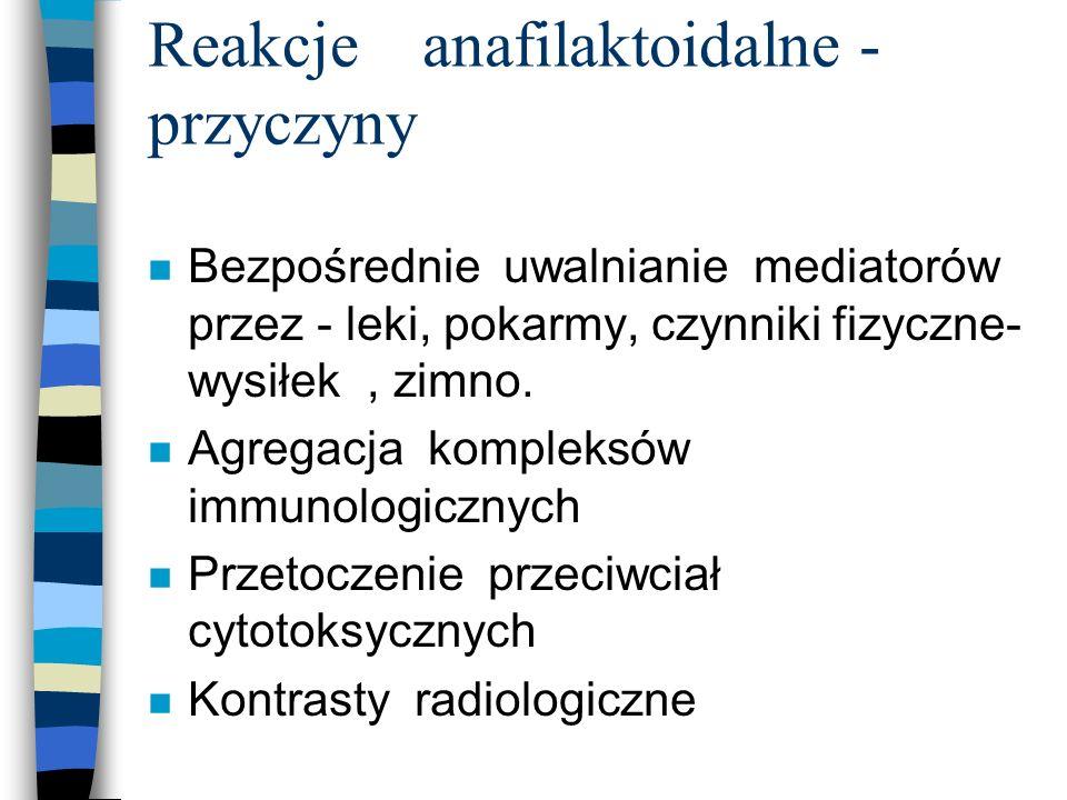 Reakcje anafilaktoidalne - przyczyny