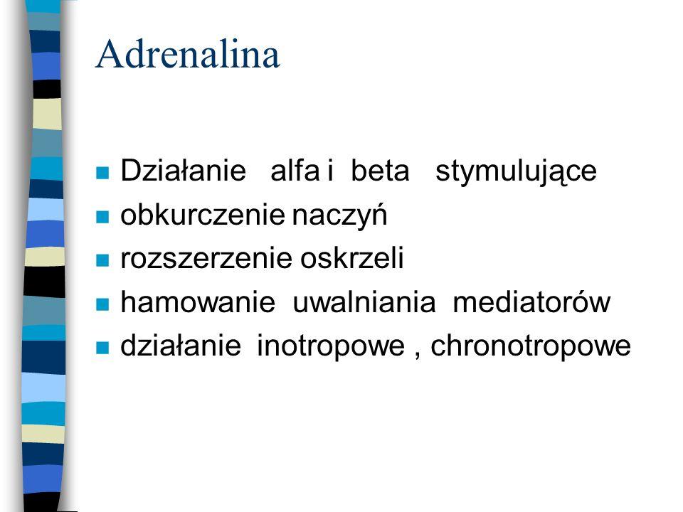 Adrenalina Działanie alfa i beta stymulujące obkurczenie naczyń