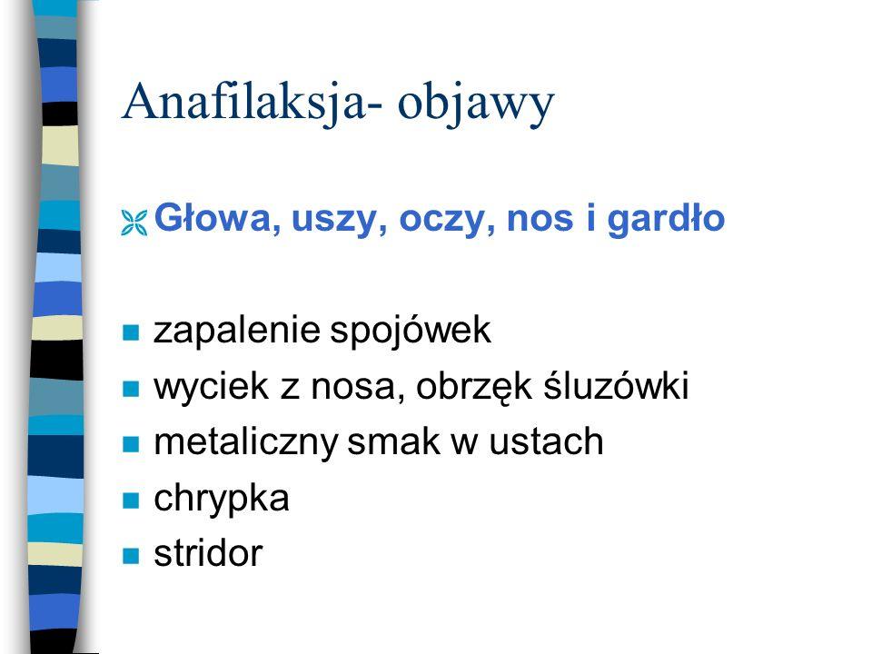Anafilaksja- objawy Głowa, uszy, oczy, nos i gardło zapalenie spojówek