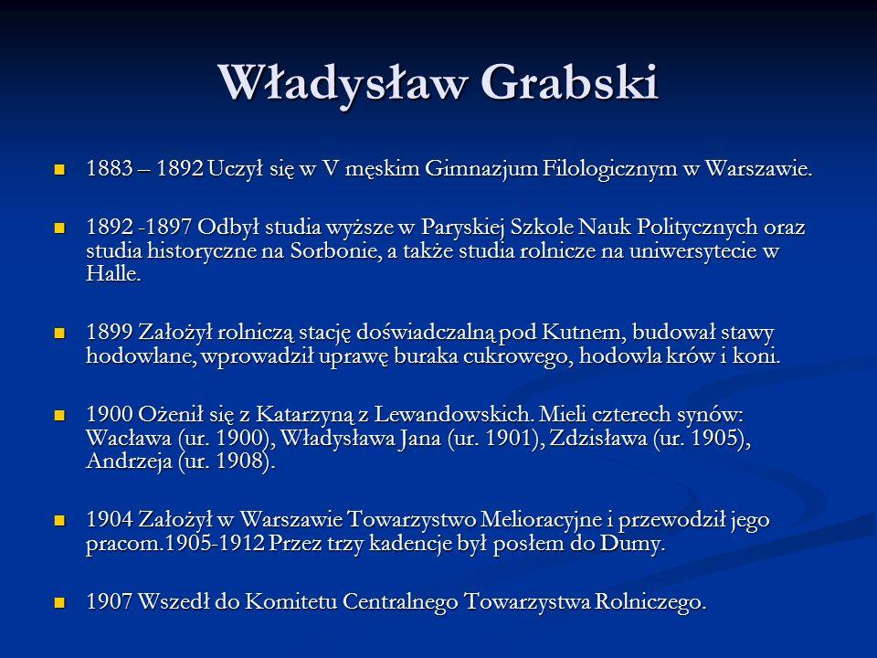 Władysław Grabski 1883 – 1892 Uczył się w V męskim Gimnazjum Filologicznym w Warszawie.