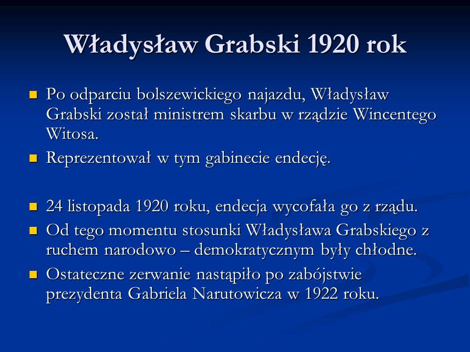 Władysław Grabski 1920 rok Po odparciu bolszewickiego najazdu, Władysław Grabski został ministrem skarbu w rządzie Wincentego Witosa.