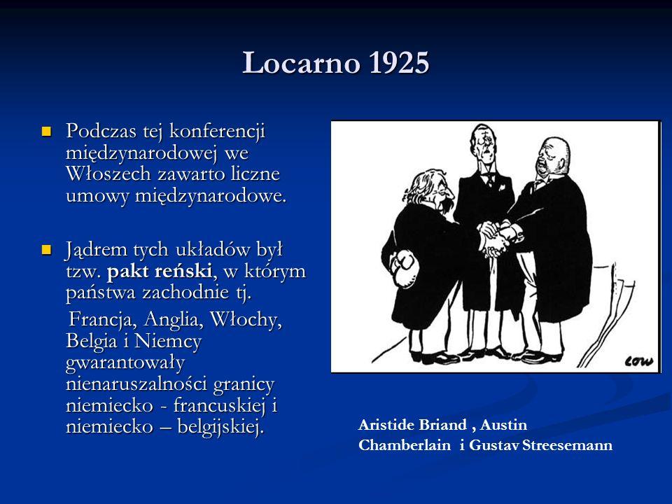 Locarno 1925Podczas tej konferencji międzynarodowej we Włoszech zawarto liczne umowy międzynarodowe.