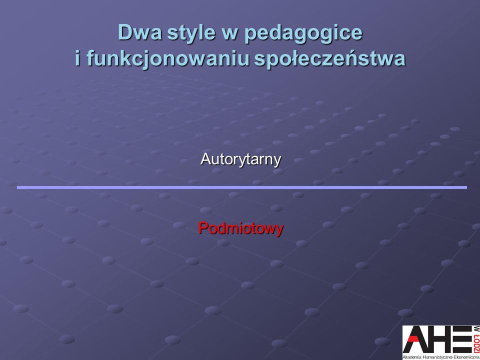 Dwa style w pedagogice i funkcjonowaniu społeczeństwa