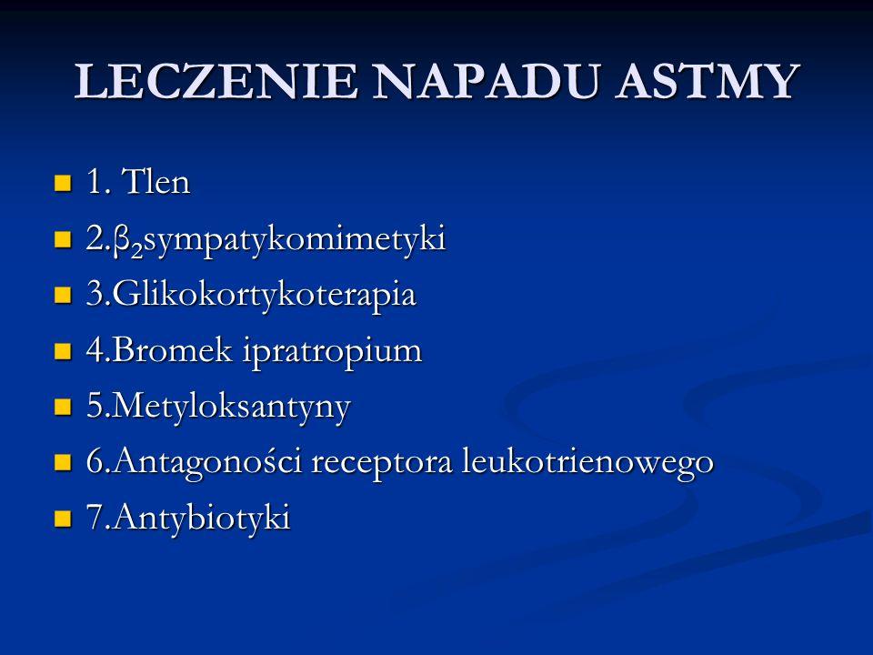 LECZENIE NAPADU ASTMY 1. Tlen 2.β2sympatykomimetyki