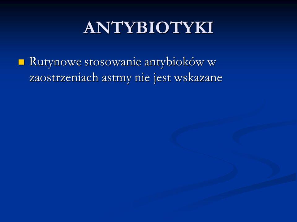 ANTYBIOTYKI Rutynowe stosowanie antybioków w zaostrzeniach astmy nie jest wskazane
