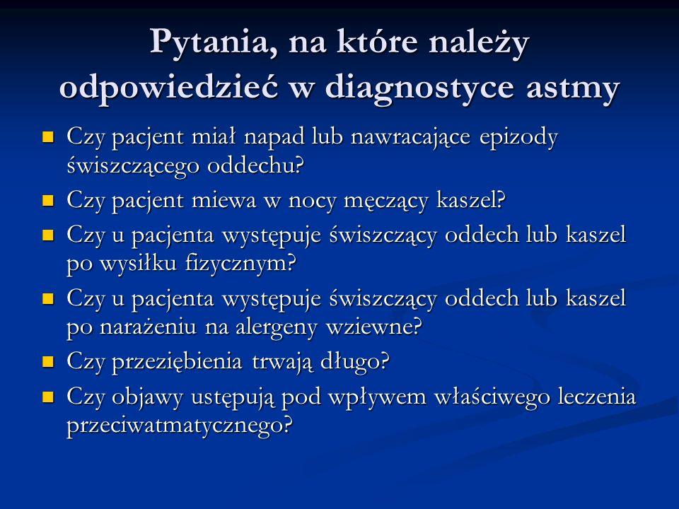 Pytania, na które należy odpowiedzieć w diagnostyce astmy
