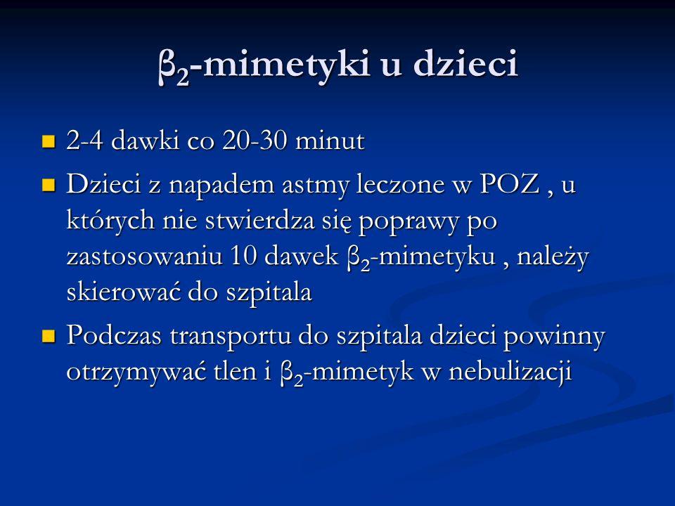 β2-mimetyki u dzieci 2-4 dawki co 20-30 minut