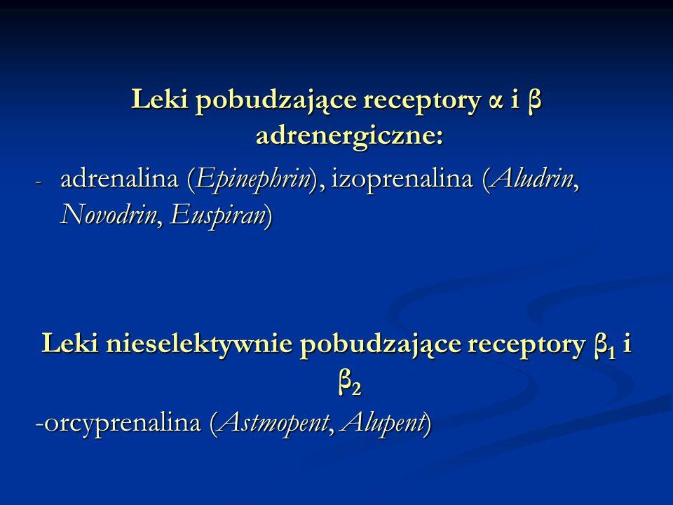 Leki pobudzające receptory α i β adrenergiczne: