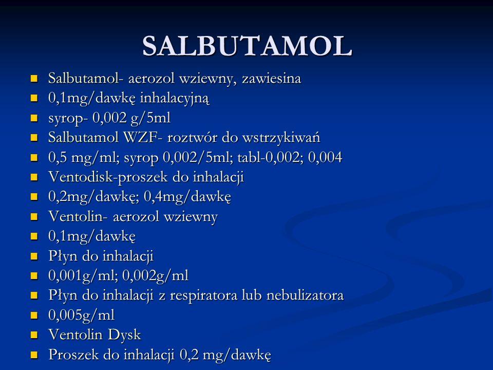 SALBUTAMOL Salbutamol- aerozol wziewny, zawiesina