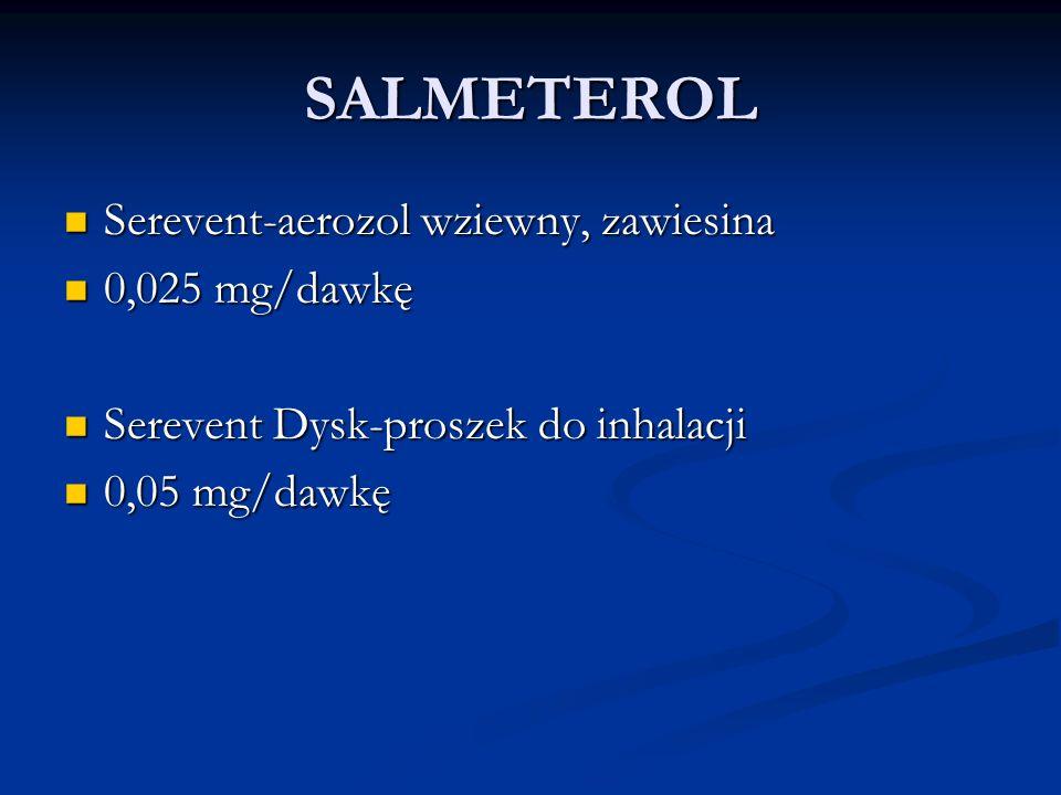 SALMETEROL Serevent-aerozol wziewny, zawiesina 0,025 mg/dawkę