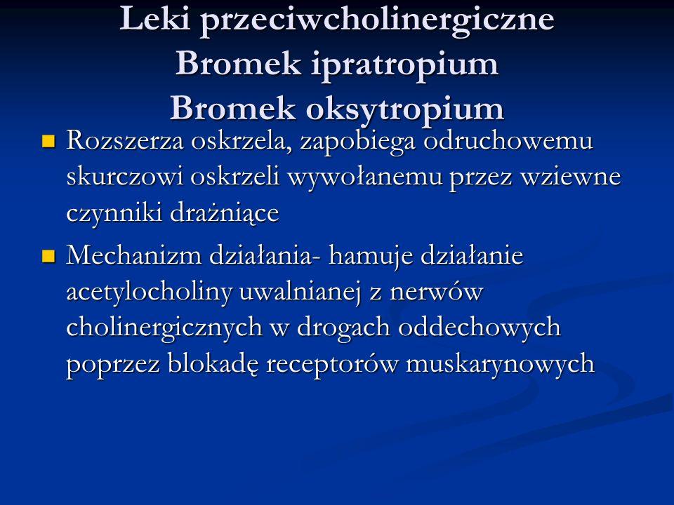 Leki przeciwcholinergiczne Bromek ipratropium Bromek oksytropium