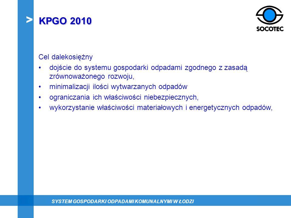 KPGO 2010 Cel dalekosiężny. dojście do systemu gospodarki odpadami zgodnego z zasadą zrównoważonego rozwoju,