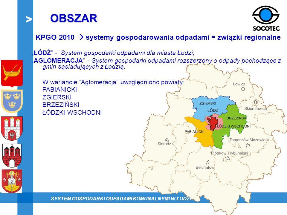 """OBSZARKPGO 2010  systemy gospodarowania odpadami = związki regionalne. """"ŁÓDŹ - System gospodarki odpadami dla miasta Łodzi,"""