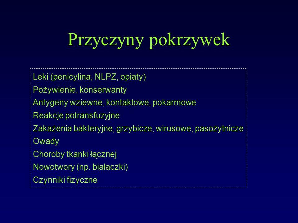 Przyczyny pokrzywek Leki (penicylina, NLPZ, opiaty)