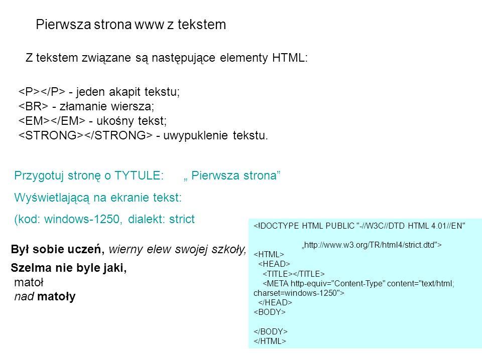 Pierwsza strona www z tekstem