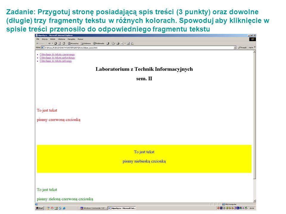 Zadanie: Przygotuj stronę posiadającą spis treści (3 punkty) oraz dowolne (długie) trzy fragmenty tekstu w różnych kolorach.