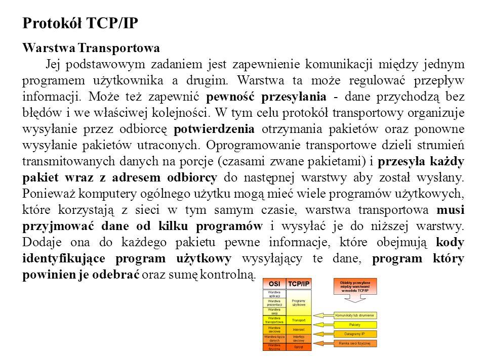 Protokół TCP/IP Warstwa Transportowa
