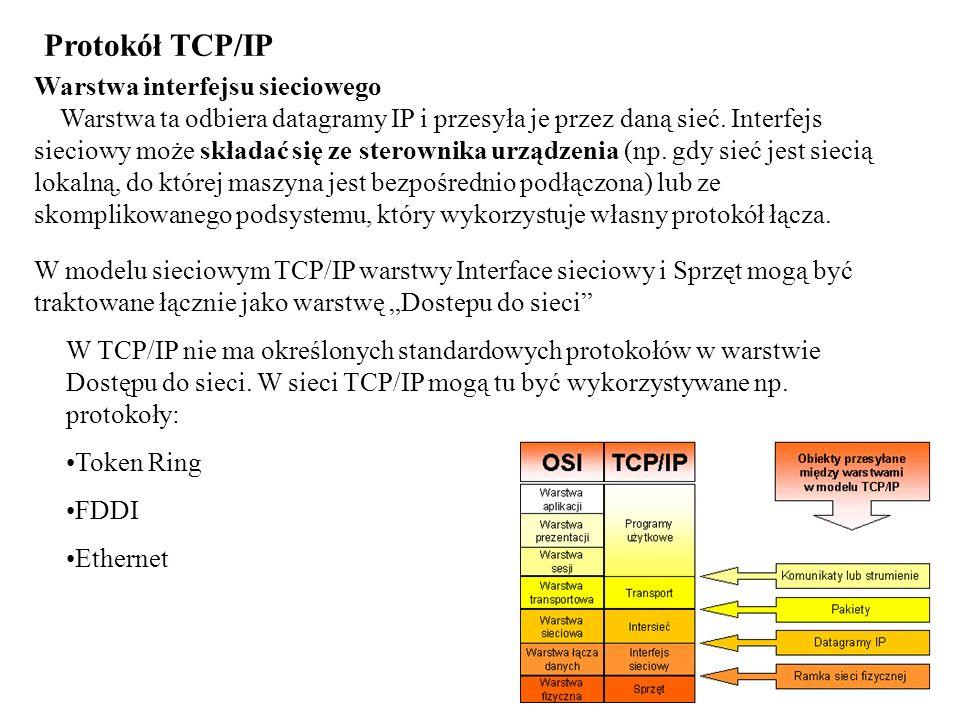 Protokół TCP/IP Warstwa interfejsu sieciowego