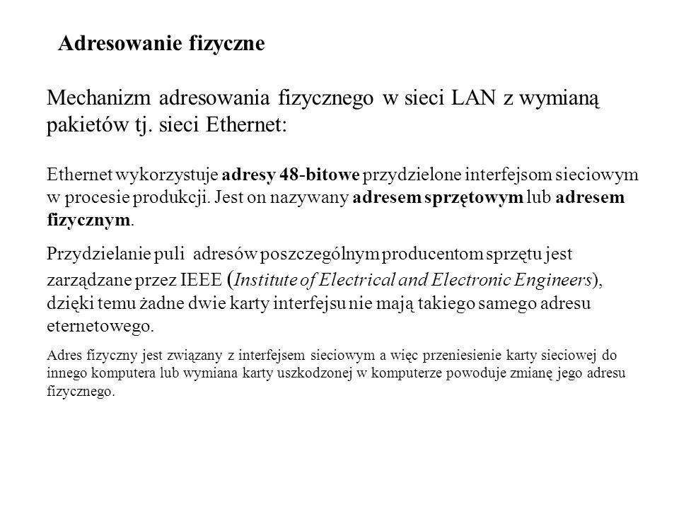 Adresowanie fizyczne Mechanizm adresowania fizycznego w sieci LAN z wymianą pakietów tj. sieci Ethernet: