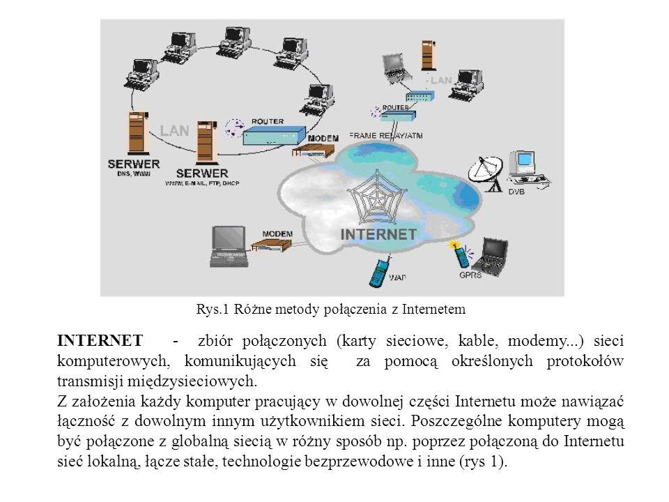 Rys.1 Różne metody połączenia z Internetem