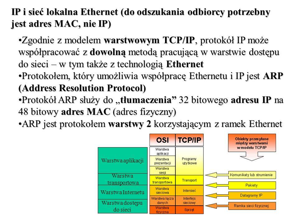 ARP jest protokołem warstwy 2 korzystającym z ramek Ethernet