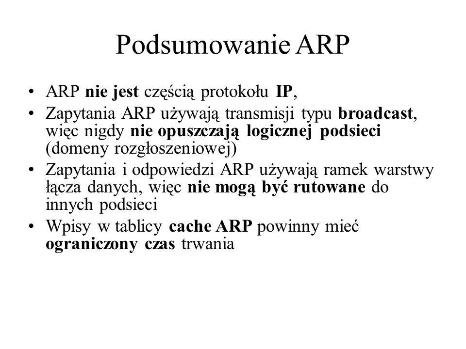 Podsumowanie ARP ARP nie jest częścią protokołu IP,