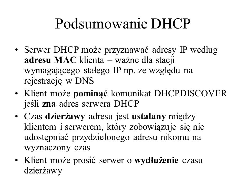 Podsumowanie DHCP