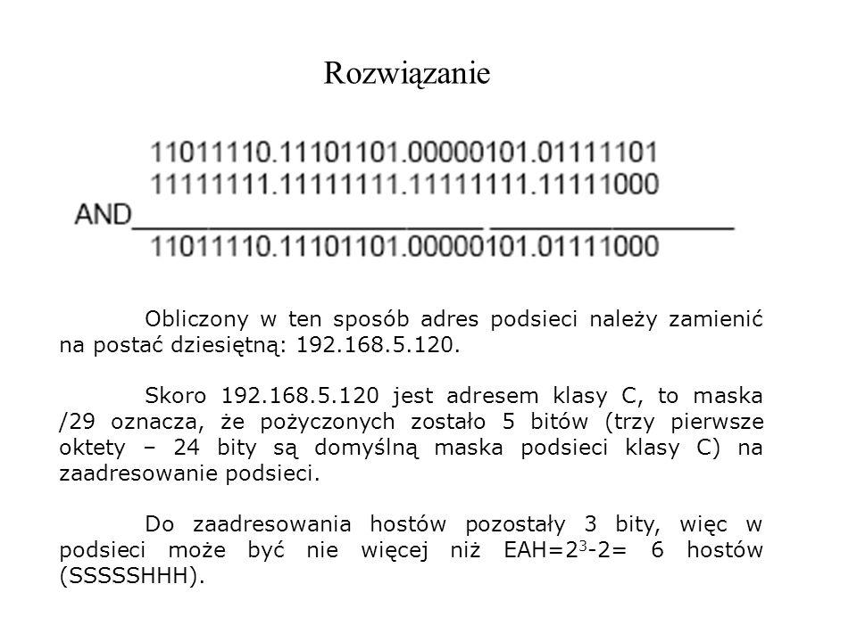 RozwiązanieObliczony w ten sposób adres podsieci należy zamienić na postać dziesiętną: 192.168.5.120.