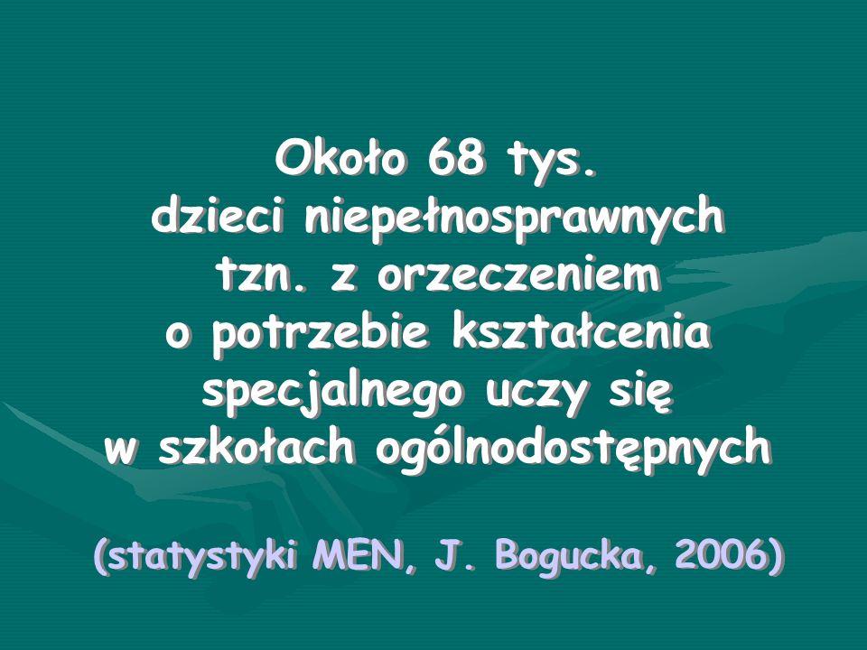 dzieci niepełnosprawnych (statystyki MEN, J. Bogucka, 2006)