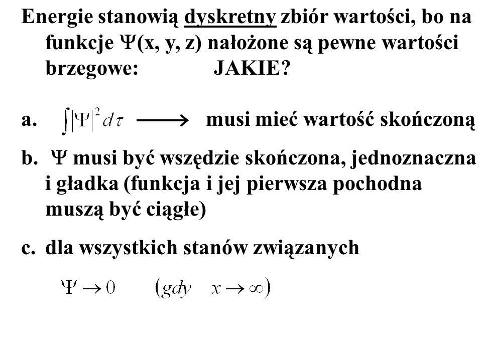 Energie stanowią dyskretny zbiór wartości, bo na funkcje Y(x, y, z) nałożone są pewne wartości brzegowe: JAKIE